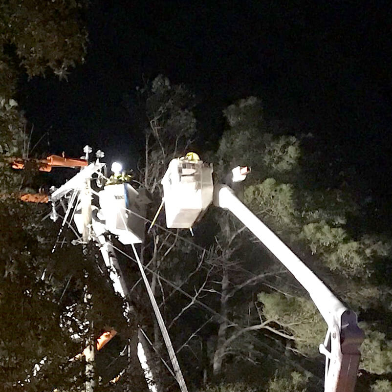Bird Dog Traffic Control Technicians at Worksite in Night