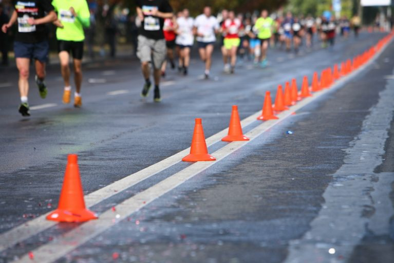 Marathon Runners' Route Lined With Traffic Cones
