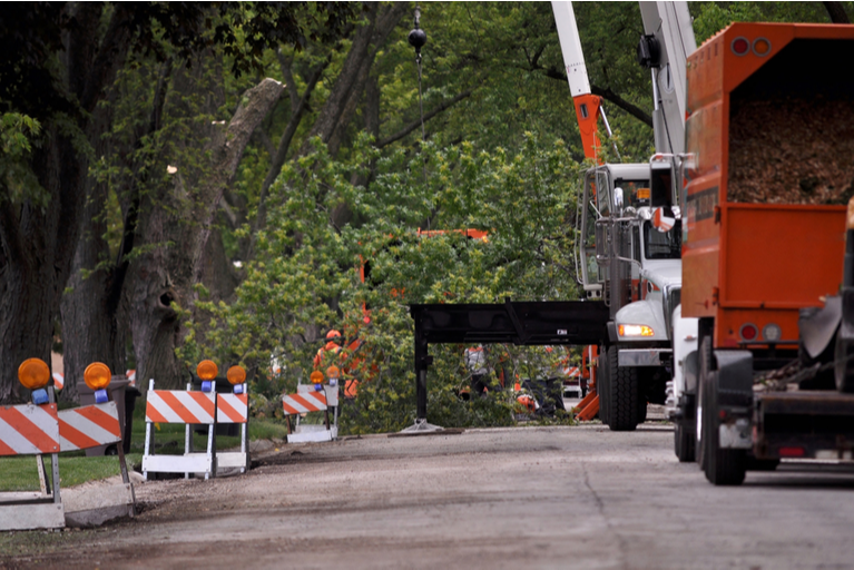 Tree Removal Company Blocking a Road Using Equipment and Signage to Remove Trees From Roadside