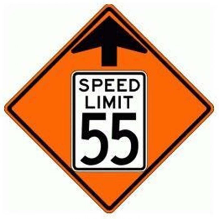 Bird Dog Traffic Control - Reduce Speed Ahead To 55 Sign