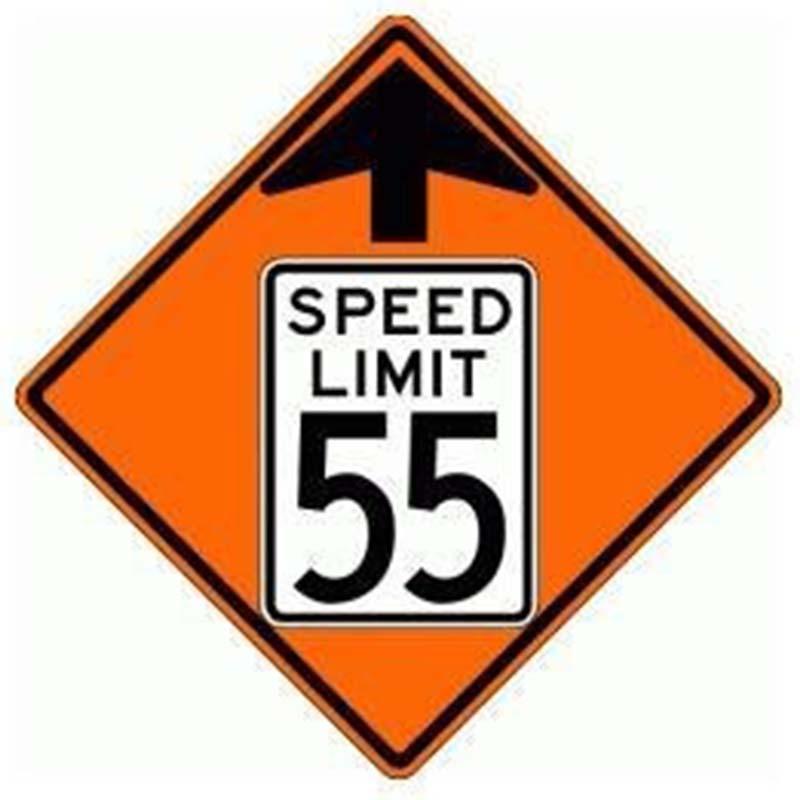 Bird Dog Traffic Control - Reduce Speed Ahead To 55 Sign