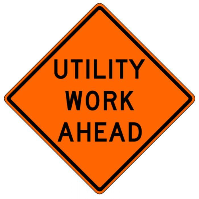 Bird Dog Traffic Control - Utility Work Ahead Sign