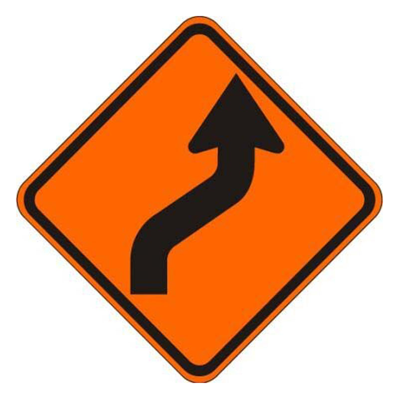 Bird Dog Traffic Control Sign Reverse Curve Right