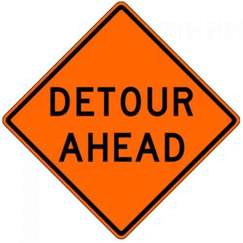 Bird Dog Traffic Control - Detour Ahead Sign