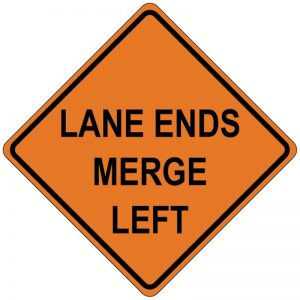 Bird Dog Traffic Control - Lane Ends Merge Left Sign