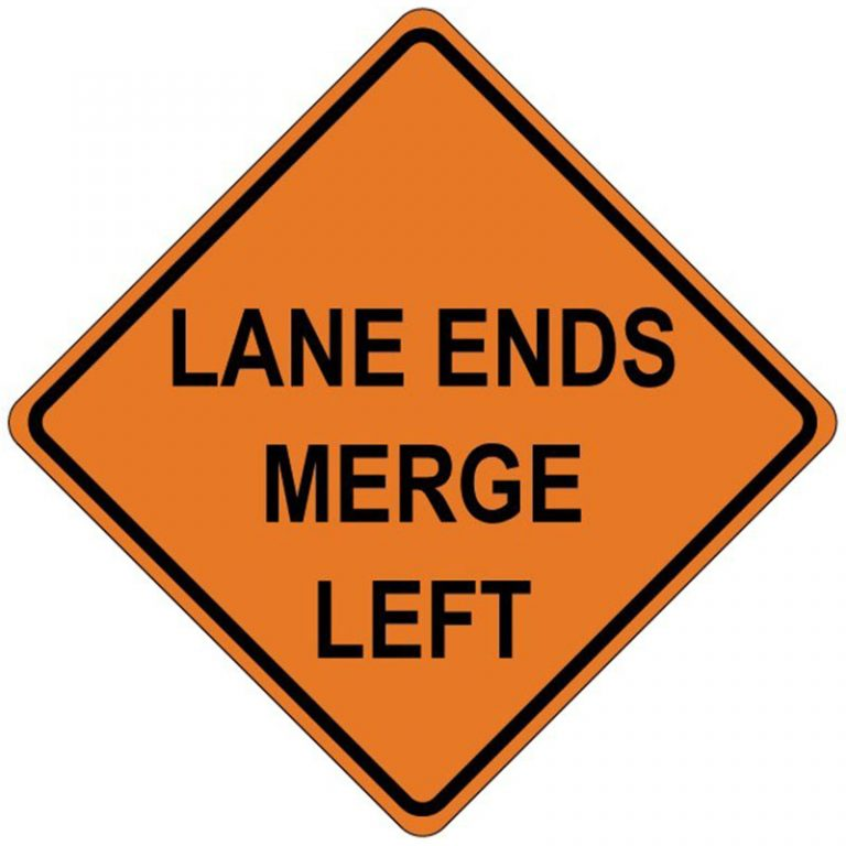 Bird Dog Traffic Control - Lane Ends Merge Left Sign