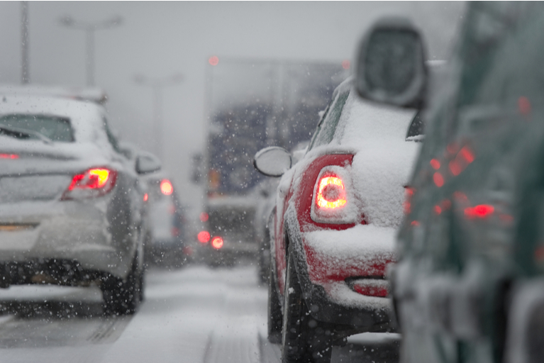 Traffic Jam Caused by Adverse Winter Weather Conditions