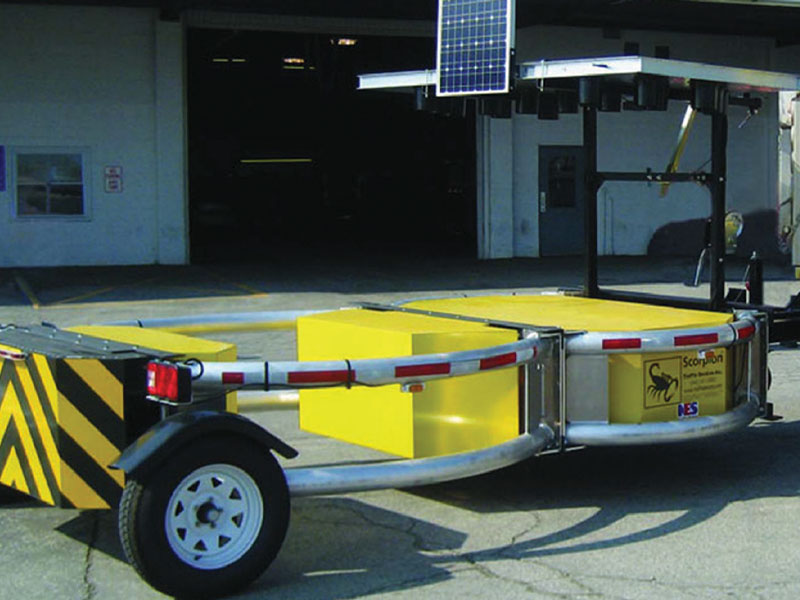 Bird Dog Traffic Control's Scorpion Towable Attenuator is available for rentals in Texas.