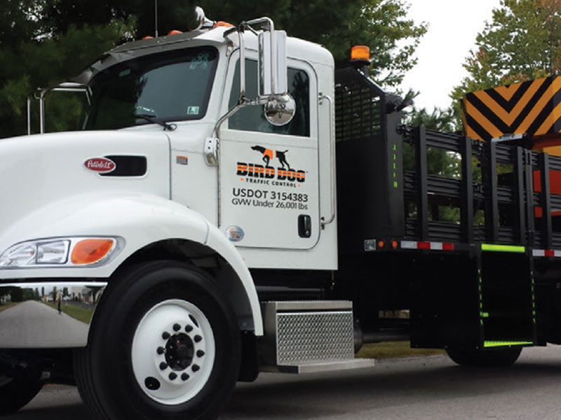 Bird Dog Traffic Control's Truck Mounted Attenuator TMA is available for rentals in Texas.